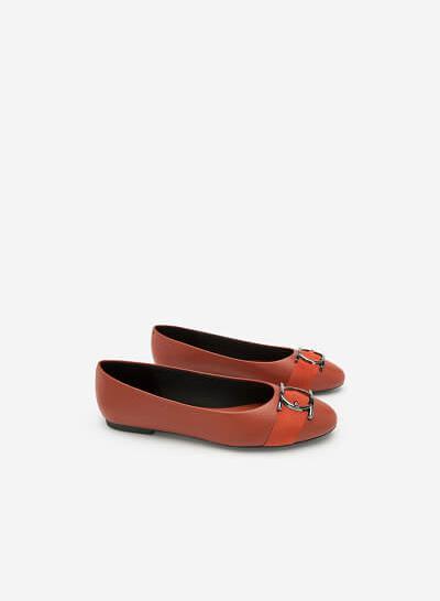 Giày Búp Bê Trang Trí Vòng Metallic Tròn - GBB 0413 - Màu Cam Đậm - VASCARA