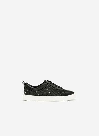 Giày Sneaker Chần Bông Đính Kim Loại - SNK 0026 - Màu Đen - VASCARA