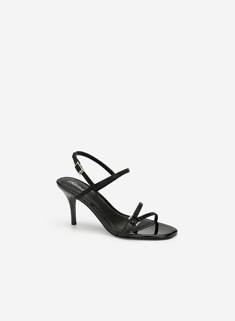 Giày Sandal Cao Gót Vân Da Rắn Metallic - SDN 0644 - Màu Đen - VASCARA