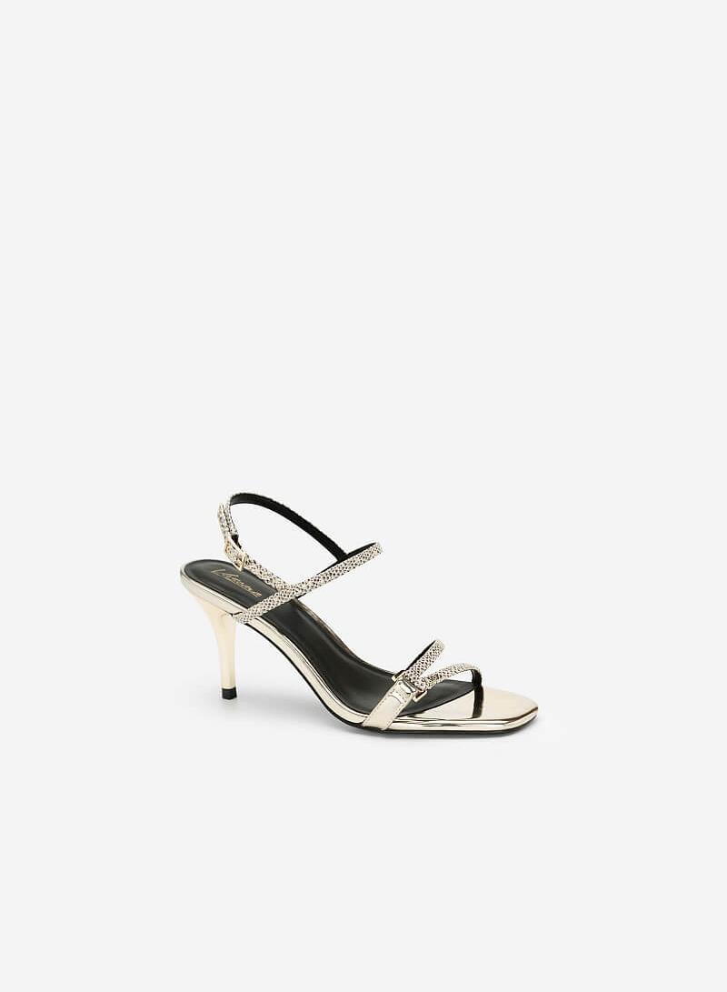 Giày Sandal Cao Gót Vân Da Rắn Metallic - SDN 0644 - Màu Vàng Kim - VASCARA