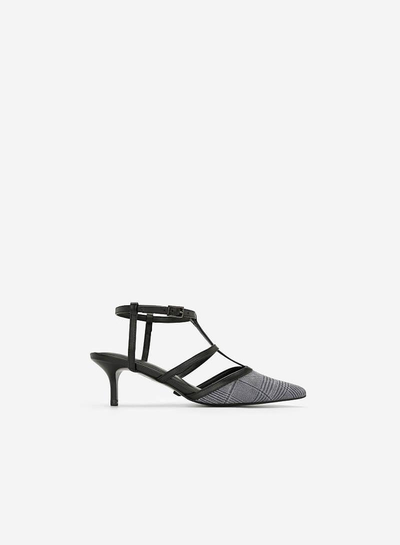 Giày T-Strap Họa Tiết Glen Check - BMN 0370 - Màu Xám - vascara