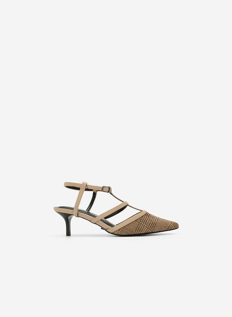 Giày T-Strap Họa Tiết Glen Check - BMN 0370 - Màu Be - VASCARA