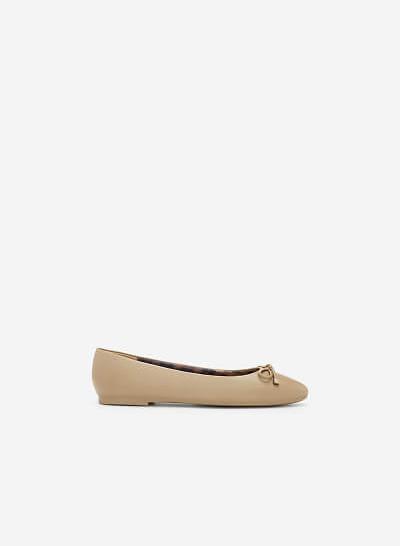 Giày Búp Bê Phối Nơ - GBB 0412 - Màu Be Đậm - VASCARA