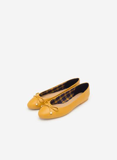 Giày Búp Bê Phối Nơ - GBB 0412 - Màu Vàng - VASCARA