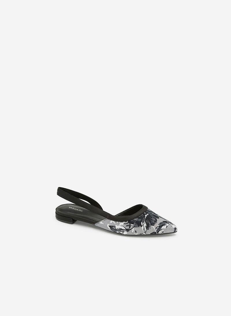 Giày Slingback Họa Tiết Hoa Mẫu Đơn - BMN 0364 - Màu Đen - vascara