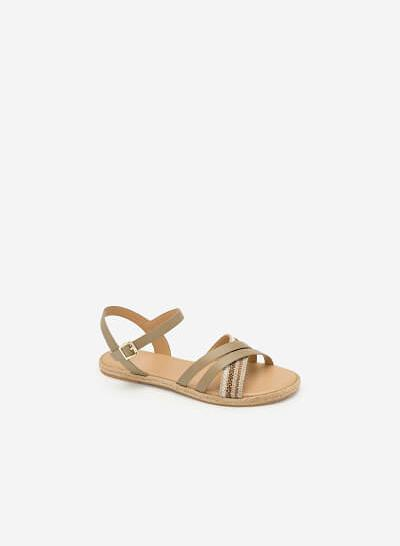 Giày Sandal Quai Chéo Phối Cói - SDK 0297 - Màu Be Đậm