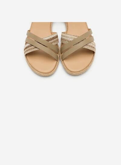 Giày Sandal Quai Chéo Phối Cói - SDK 0297 - Màu Be Đậm - vascara