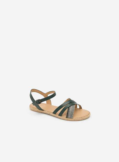 Giày Sandal Quai Chéo Phối Cói - SDK 0297 - Màu Xanh Cổ Vịt