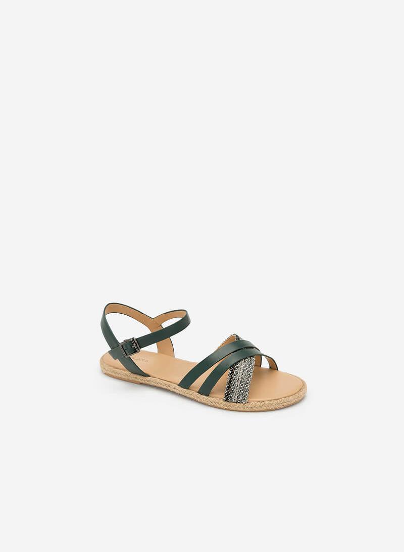 Giày Sandal Quai Chéo Phối Cói - SDK 0297 - Màu Xanh Cổ Vịt - VASCARA