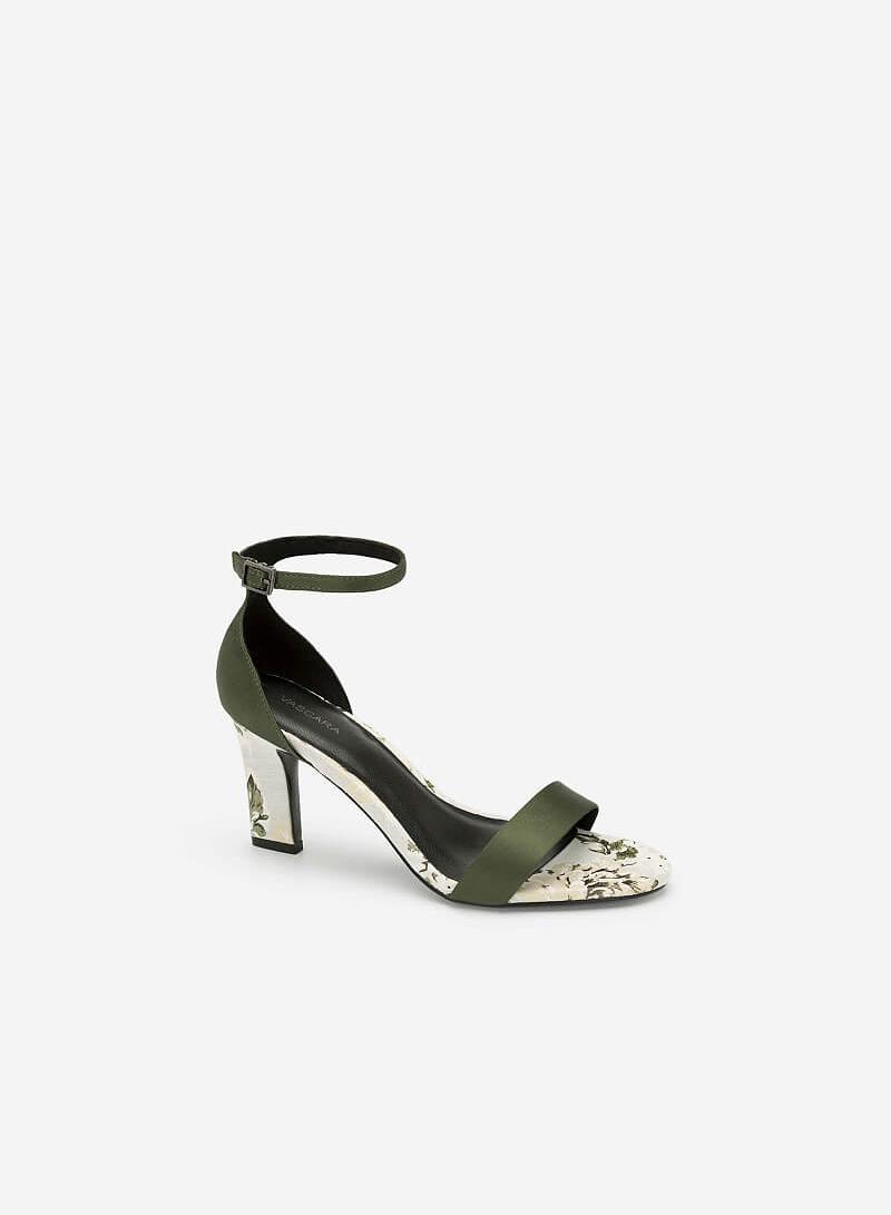 Giày Ankle Strap Hoa Mẫu Đơn Quai Ngang - SDN 0645 - Màu Xanh Rêu - vascara