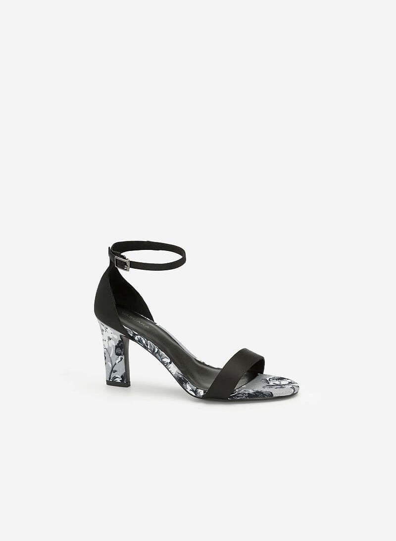 Giày Ankle Strap Hoa Mẫu Đơn Quai Ngang - SDN 0645 - Màu Đen - VASCARA