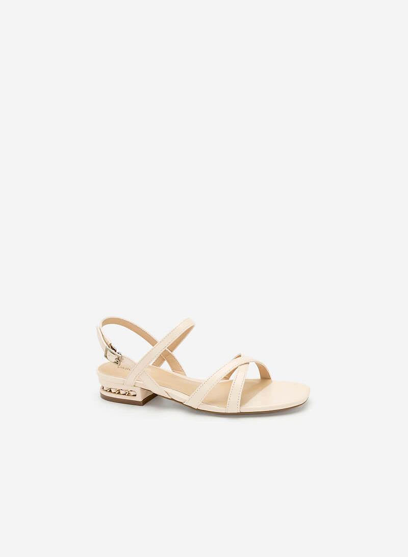 Giày Sandal Nhấn Gót - SDK 0298 - Màu Kem - VASCARA