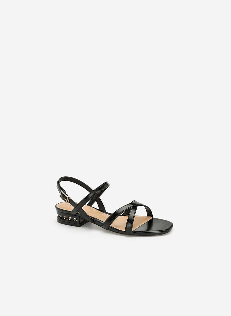 Giày Sandal Nhấn Gót - SDK 0298 - Màu Đen - VASCARA