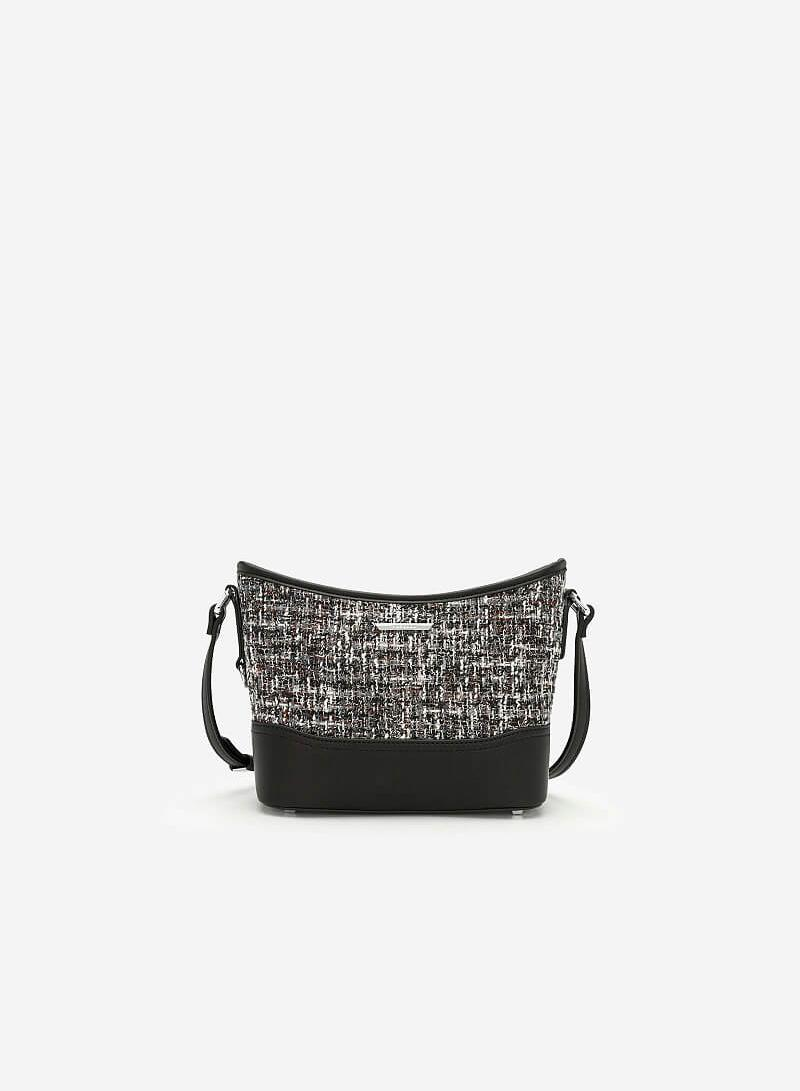 Túi Đeo Chéo Phối Vải Tweed - SHO 0142 - Màu Đen - vascara