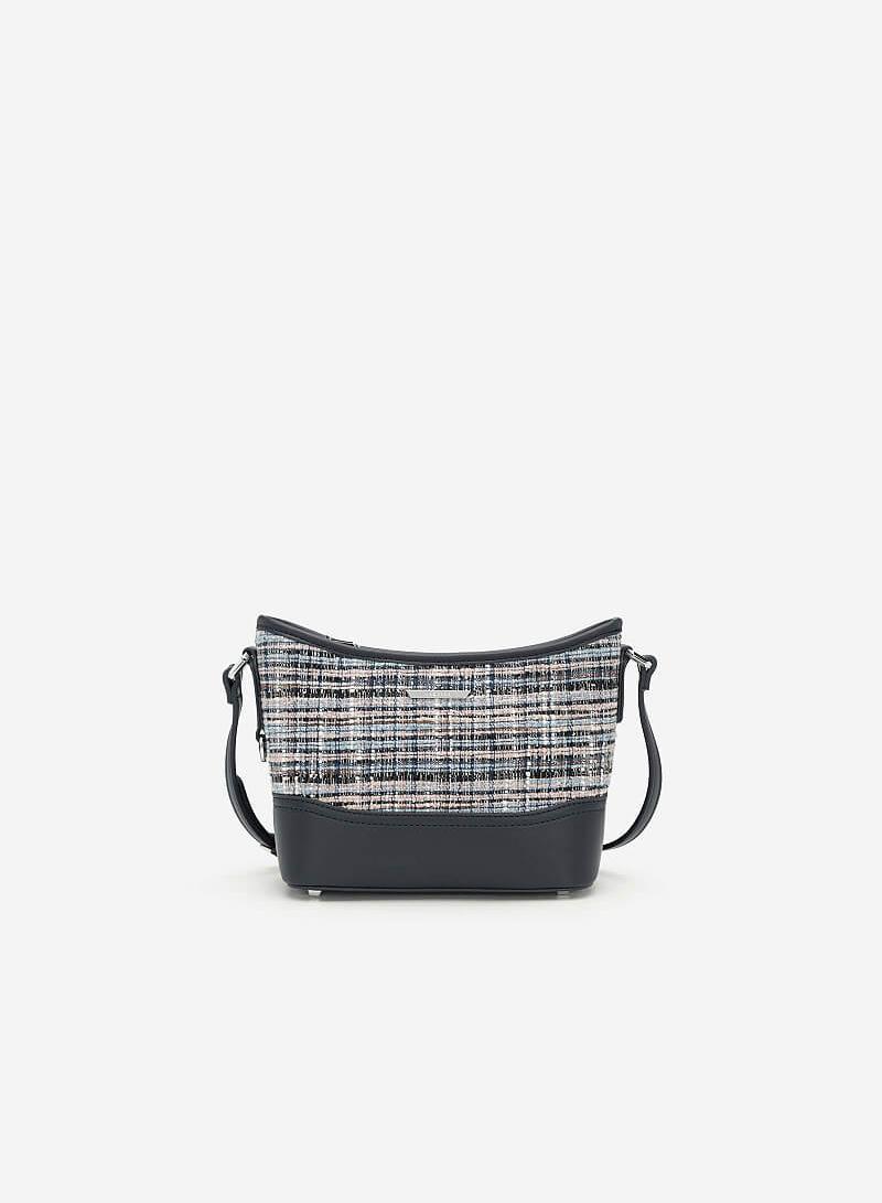 Túi Đeo Chéo Phối Vải Tweed - SHO 0142 - Màu Xanh Navy - vascara