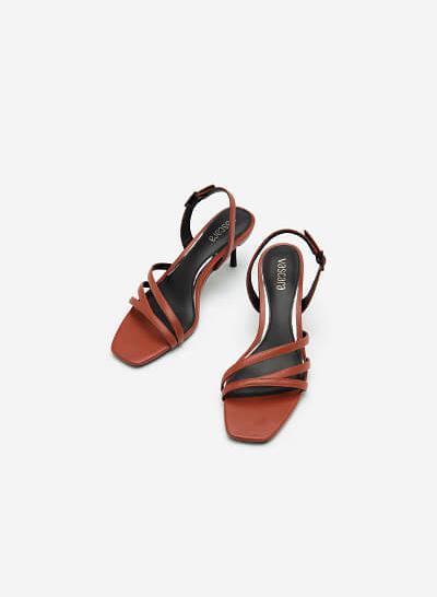 Giày Sandal Gót Nhọn - SDN 0673 - Màu Cam Đậm - VASCARA