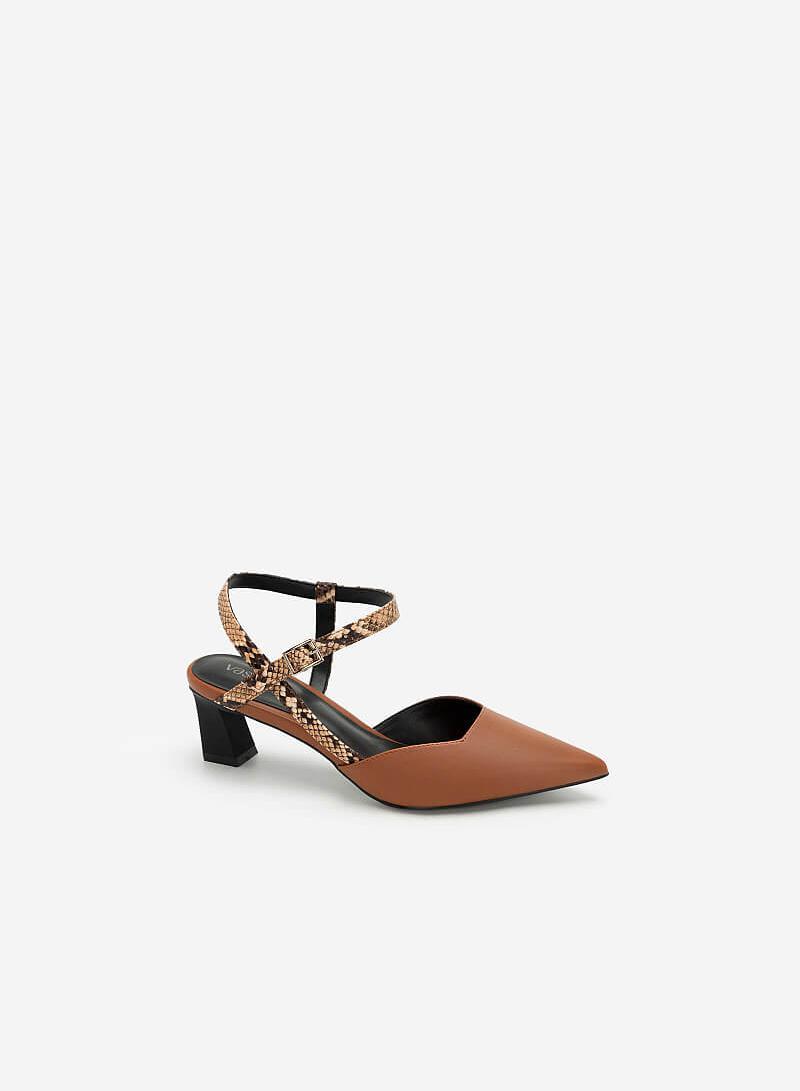 Giày Bít Mũi Nhọn Đế Trụ Quai Vân Da Rắn - BMN 0440 - Màu Nâu - VASCARA