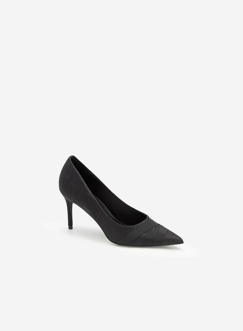 Giày Cao Gót Mũi Nhọn Crinkle Satin - BMN 0438 - Màu Đen - VASCARA