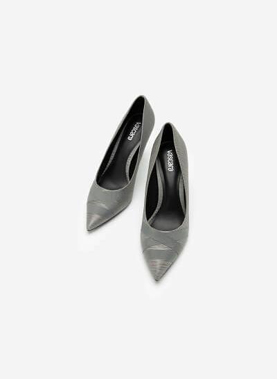 Giày Cao Gót Mũi Nhọn Crinkle Satin - BMN 0438 - Màu Xám - VASCARA