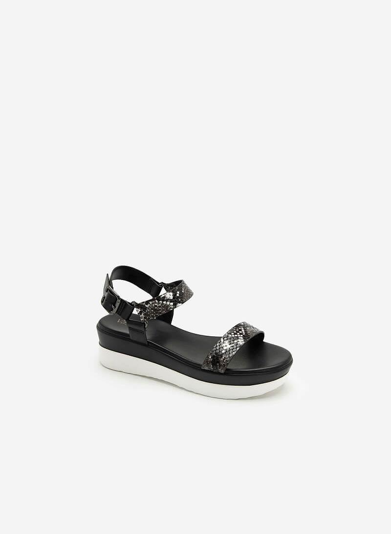 Giày Sandal Đế Xuồng Quai Vân Da Rắn - SDX 0417 - Màu Đen - VASCARA