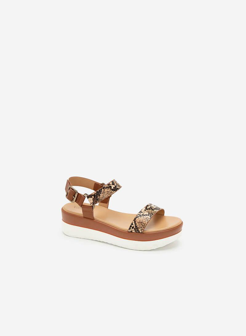 Giày Sandal Đế Xuồng Quai Vân Da Rắn - SDX 0417 - Màu Nâu - VASCARA