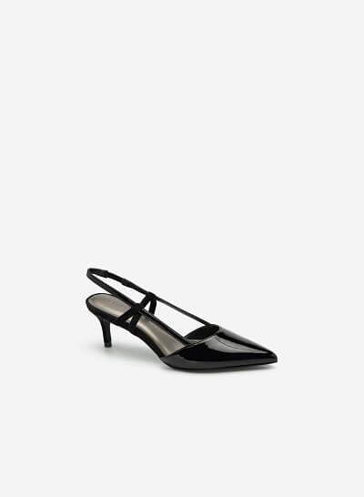 Giày Slingback Mũi Nhọn Phối Nubuck - BMN 0420 - Màu Đen