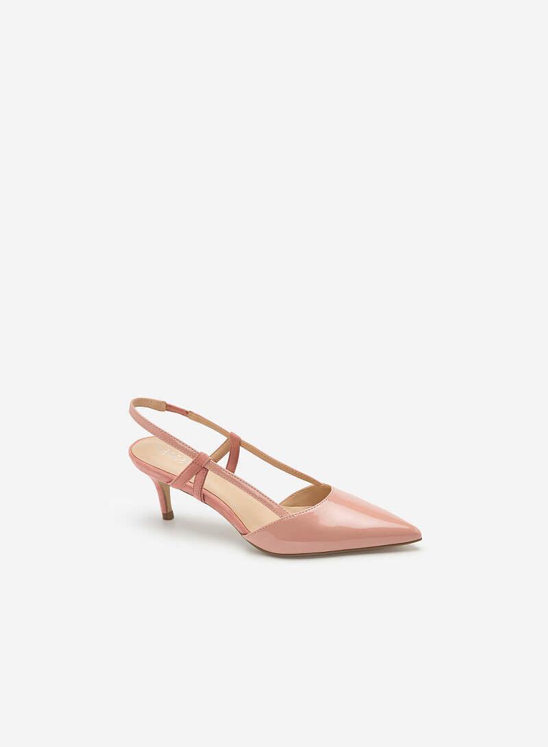 Giày Slingback Mũi Nhọn Phối Nubuck - BMN 0420 - Màu Hồng - VASCARA