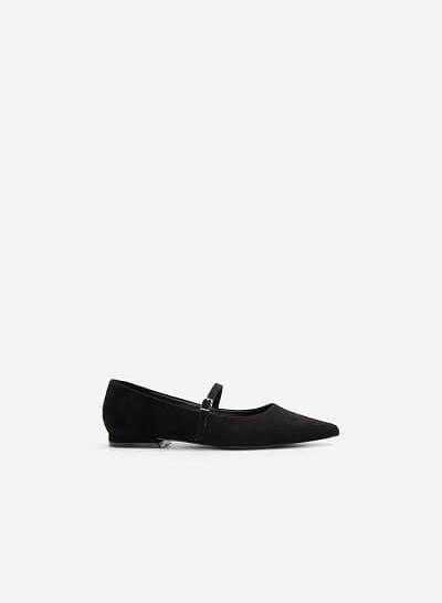Giày Bít Mũi Nhọn Mary Janes Da Nubuck - BMN 0439 - Màu Đen - VASCARA