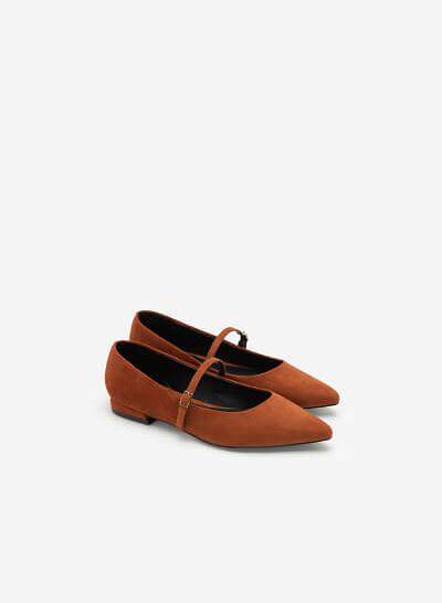 Giày Bít Mũi Nhọn Mary Janes Da Nubuck - BMN 0439 - Màu Nâu - VASCARA