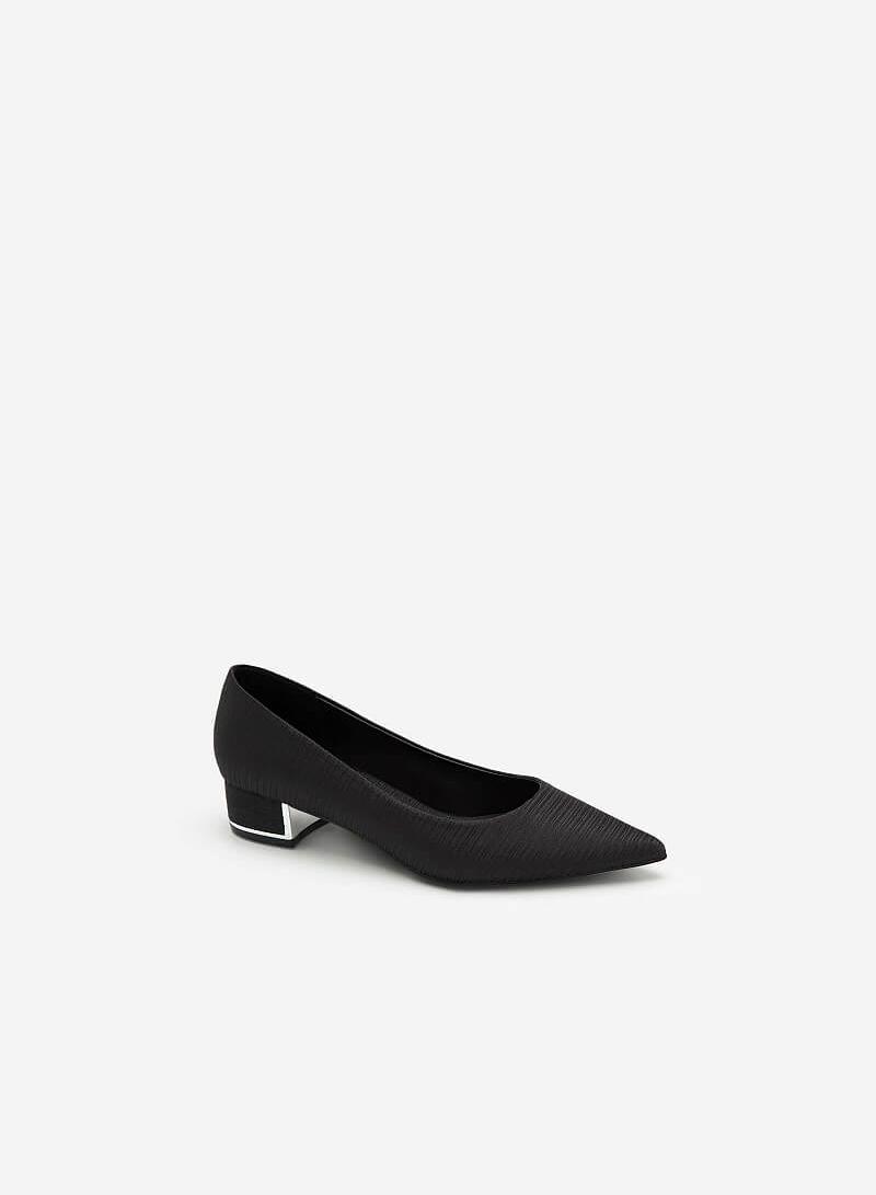 Giày Bít Mũi Nhọn Satin Vân Nổi - BMN 0435 - Màu Đen - VASCARA