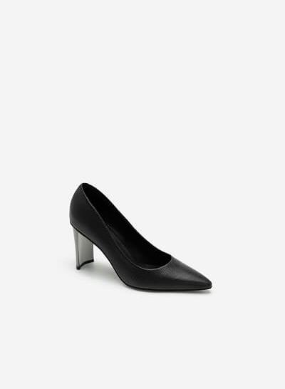 Giày Bít Mũi Vân Da Kỳ Đà Gót Metallic - BMN 0444 - Màu Đen