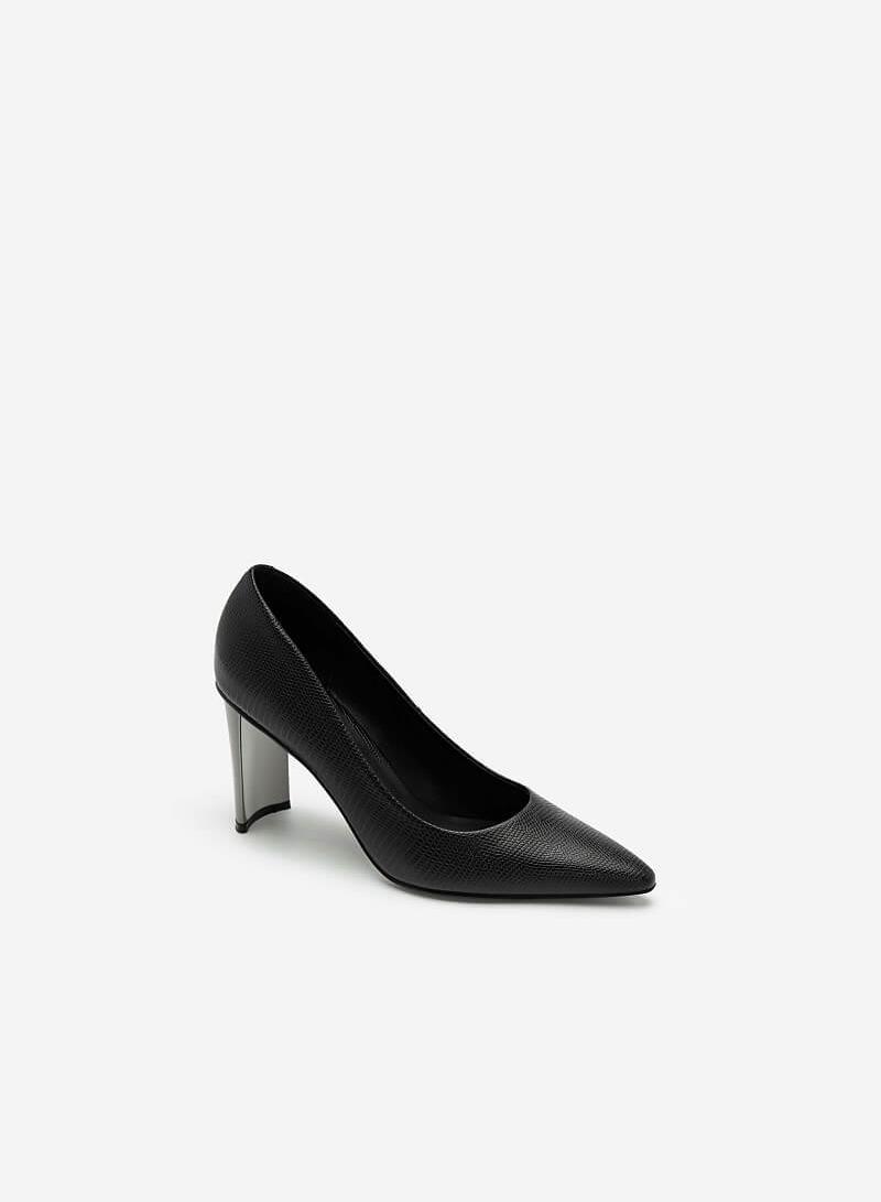 Giày Bít Mũi Vân Da Kỳ Đà Gót Metallic - BMN 0444 - Màu Đen - VASCARA
