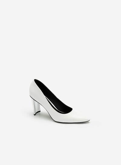Giày Bít Mũi Vân Da Kỳ Đà Gót Metallic - BMN 0444 - Màu Trắng
