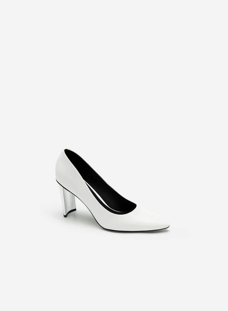 Giày Bít Mũi Vân Da Kỳ Đà Gót Metallic - BMN 0444 - Màu Trắng - VASCARA