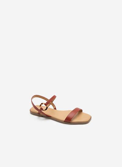 Giày Sandal Phối Khóa Tròn - SDK 0311 - Màu Cam Đậm