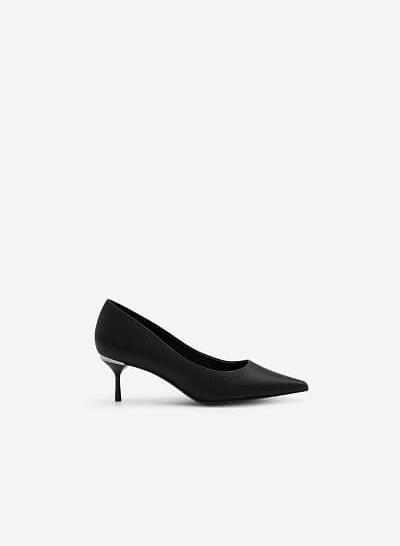 Giày Cao Gót Satin Mũi Nhọn Đế Nhấn Metallic - BMN 0445 - Màu Đen