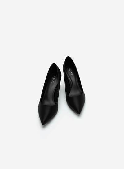 Giày Cao Gót Satin Mũi Nhọn Đế Nhấn Metallic - BMN 0445 - Màu Đen - VASCARA