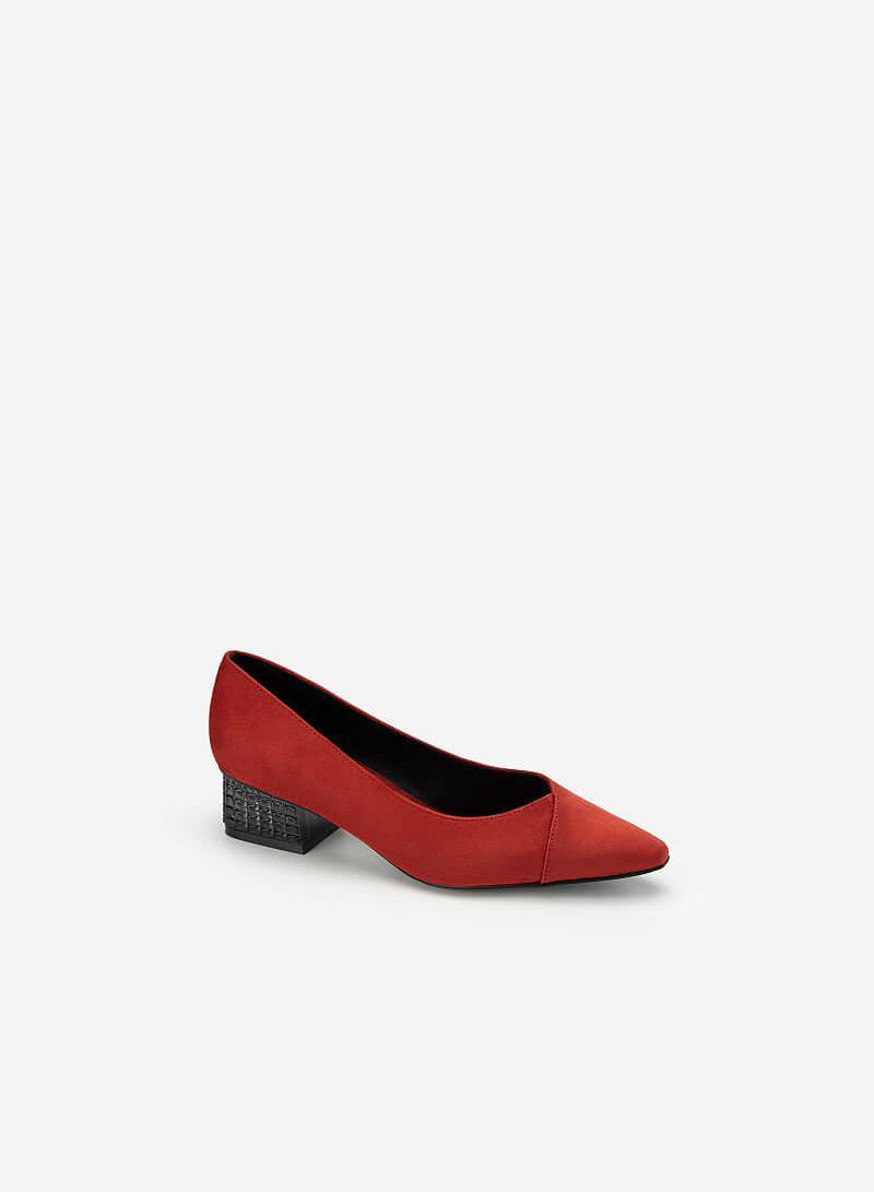 Giày Bít Mũi Nhọn Nubuck Gót Trụ Đa Giác - BMN 0449 - Màu Cam Đậm - vascara.com