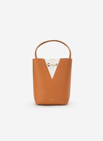 Bucket Bag Khóa Dây Rút Phối Nubuck - SAT 0272 - Màu Cam Nhạt