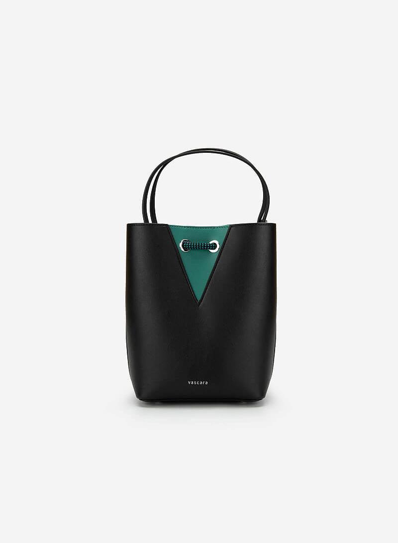 Bucket Bag Khóa Dây Rút Phối Nubuck - SAT 0272 - Màu Đen