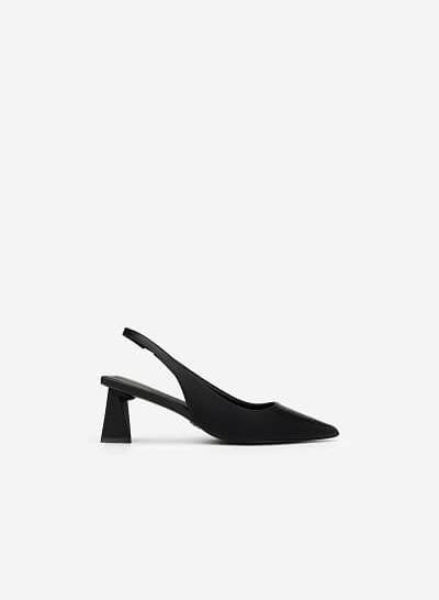 Giày Slingback Gót Trụ Tứ Giác - BMN 0448 - Màu Đen