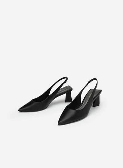 Giày Slingback Gót Trụ Tứ Giác - BMN 0448 - Màu Đen - VASCARA