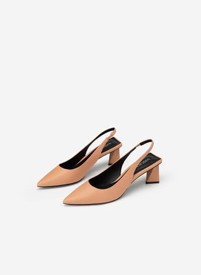 Giày Slingback Gót Trụ Tứ Giác - BMN 0448 - Màu Hồng - VASCARA