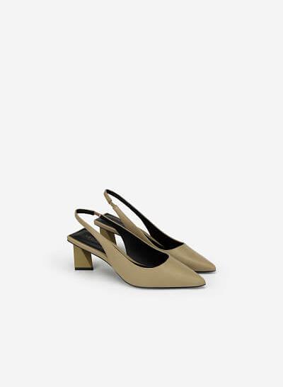 Giày Slingback Gót Trụ Tứ Giác - BMN 0448 - Màu Xanh Olive - VASCARA