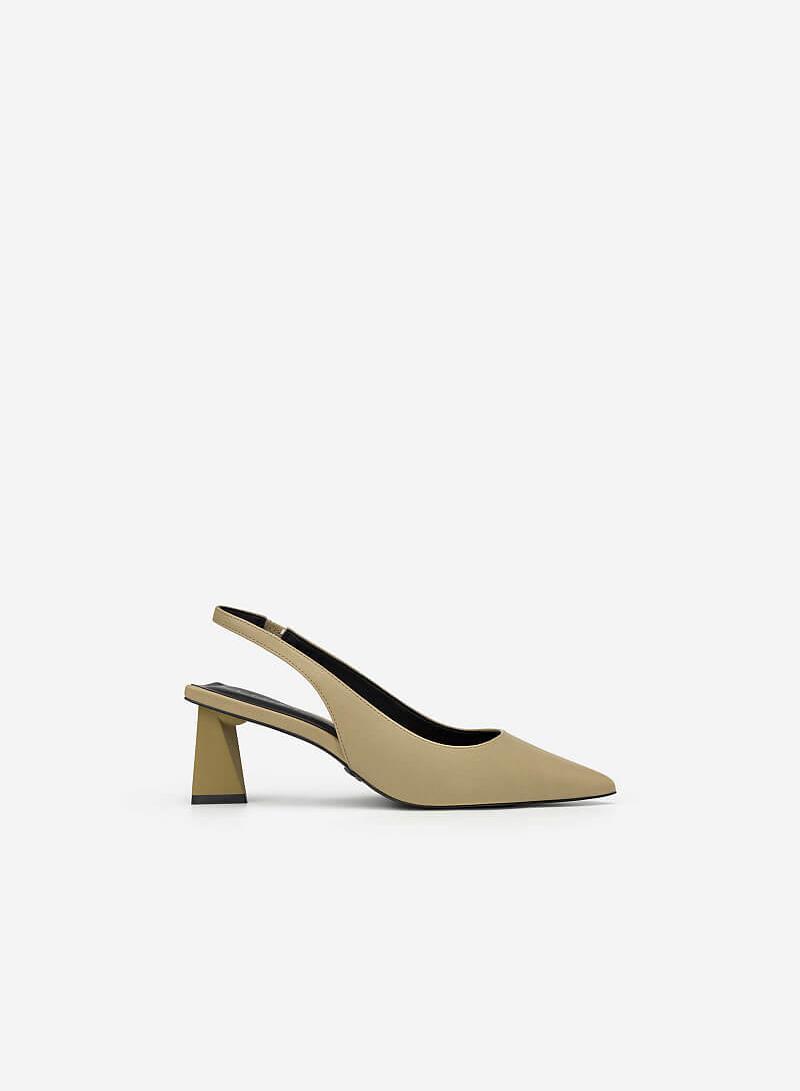 Giày Slingback Gót Trụ Tứ Giác - BMN 0448 - Màu Xanh Olive - vascara.com
