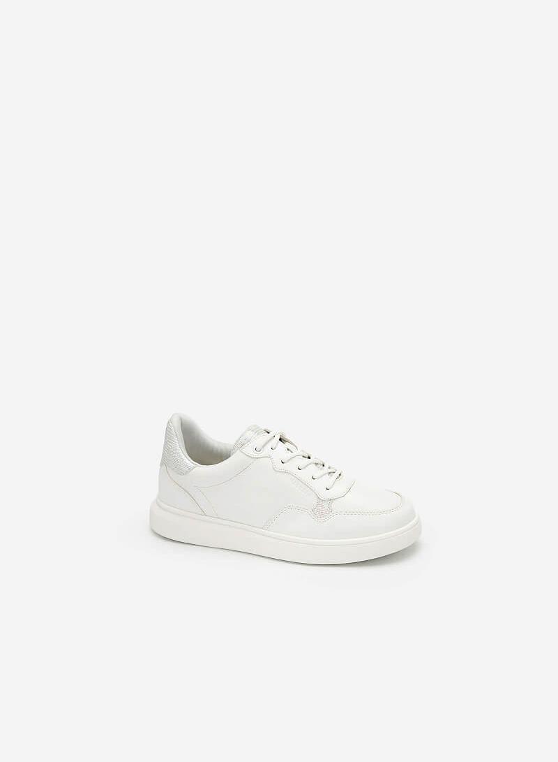 Giày Sneaker Viền Chỉ Nổi Đính Hologram - SNK 0035 - Màu Trắng - vascara.com