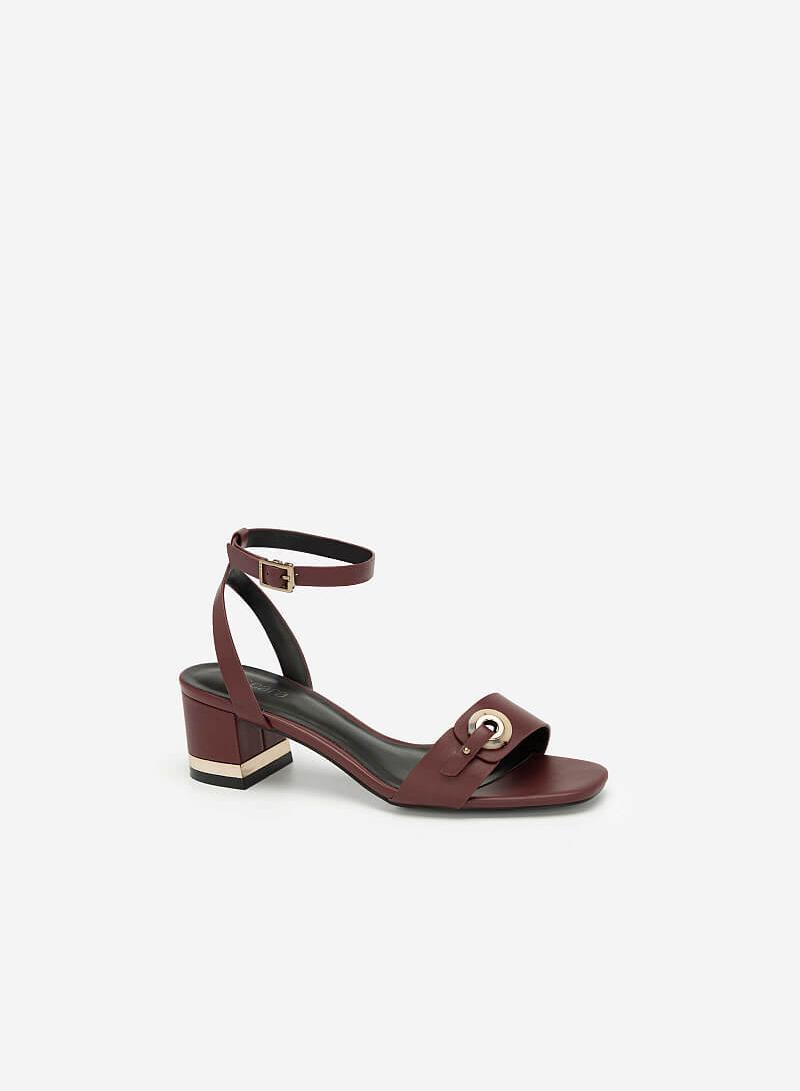 Giày Sandal Cao Gót Quai Cài Khuy Tròn Cẩm Thạch - SDN 0649 - Màu Đỏ Đậm - VASCARA
