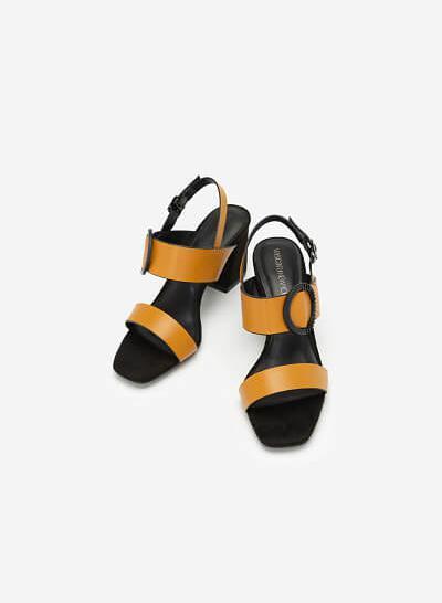 Giày Sandal Cao Gót Trang Trí Vòng Kim Loại - SDN 0656 - Màu Vàng Đậm - VASCARA