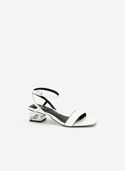 Giày Sandal Gót Trụ 2 Tầng Crystal - SDN 0651 - Màu Trắng