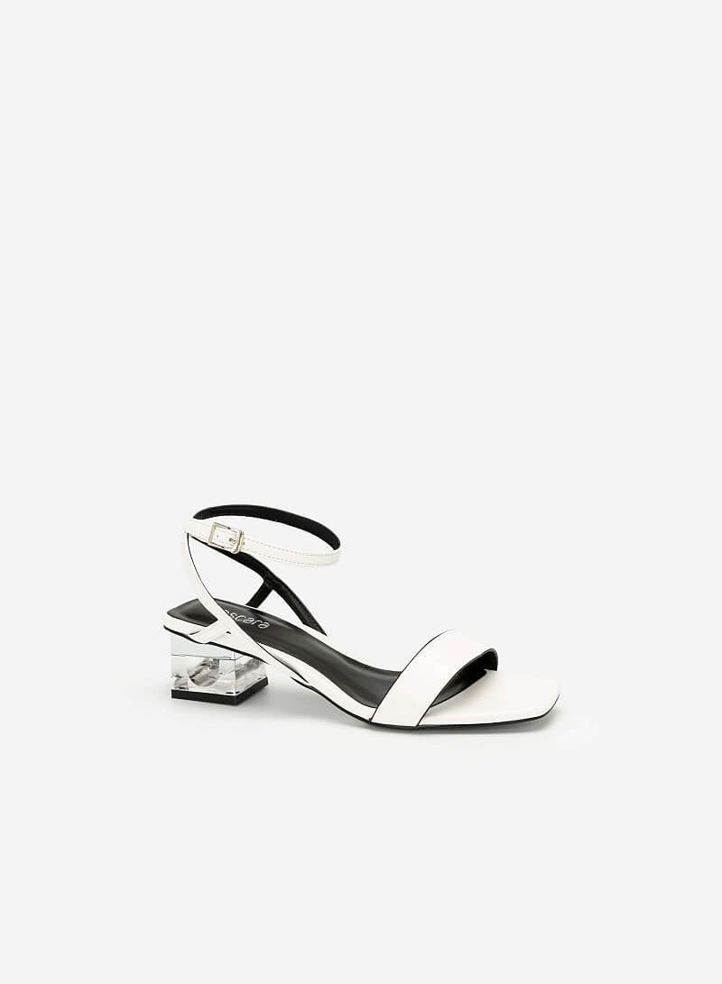 Giày Sandal Gót Trụ 2 Tầng Crystal - SDN 0651 - Màu Trắng - VASCARA